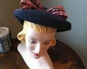 "WWII Hat 1940s brim Halo Bonnet style ""Abby"""