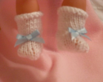 "10-12"" White Booties with Blue Bow"