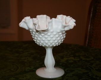 Vintage Fenton White Milk Glass Hobnail Double Crimp Pedestal Bowl Romantic Cottage Chic