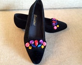 Vintage 80s Bedazzled Shoes 1980s Beaded Rhinestone Flats Black Velvet Velveteen Slipper Ballet Style 80s Party Outfit Accessory Size 7 or 6