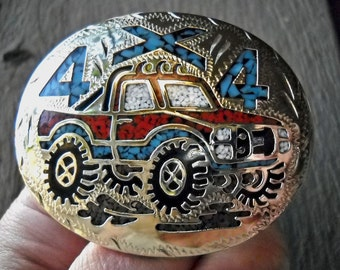 vintage belt buckle, silver, turquoise, coral , mosaic, 4x4 truck, sale, gift for him, Holiday gift