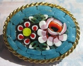Vintage Brooch - Micro Mosaic - Turquoise and Lavender - Gold tone Metal