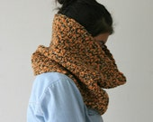 Chunky Cowl in Earth Tones - Neck Warmer Scarf in Orange, Mustard and Brown - Fall Winter Fashion - Women and Teens Accessories - Snood