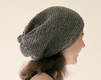 Grey Slouchy Knit Hat - Gray Chunky Beanie - Oversize Beret - Fall Winter Fashion - Women Teens Accessories
