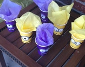 Purple and Yellow Minion Party Favor Cups- minion party favor cup party cups party decoration kids birthday
