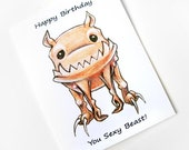 Funny Birthday Card: Happy Birthday You Sexy Beast, Cute Blank Greeting Card, Little Monster Card, Custom Card, Personalized Name Card