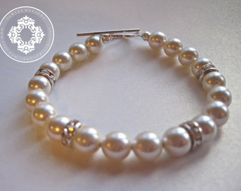 Swarovski Pearl bracelet with Sterling Silver toggle, Womens accessories, Bridal Accessories, Pearl Bracelet