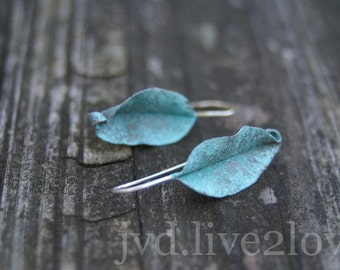 tiny turquoise leaf earrings with sterling wires