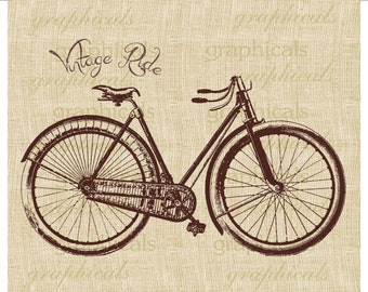 Vintage bicycle instant graphic clip art Digital download image for paper iron on fabric burlap transfer decoupage pillow tote bag No. 2078