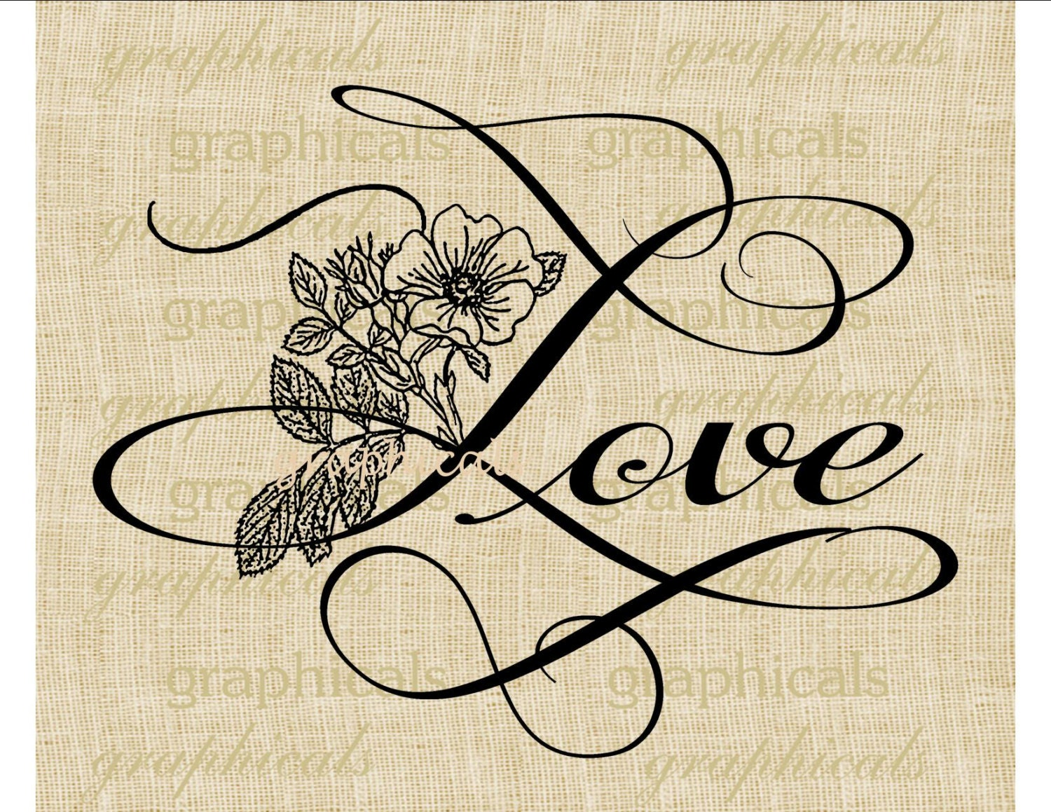 Love Calligraphy Instant Digital Download Image For Iron