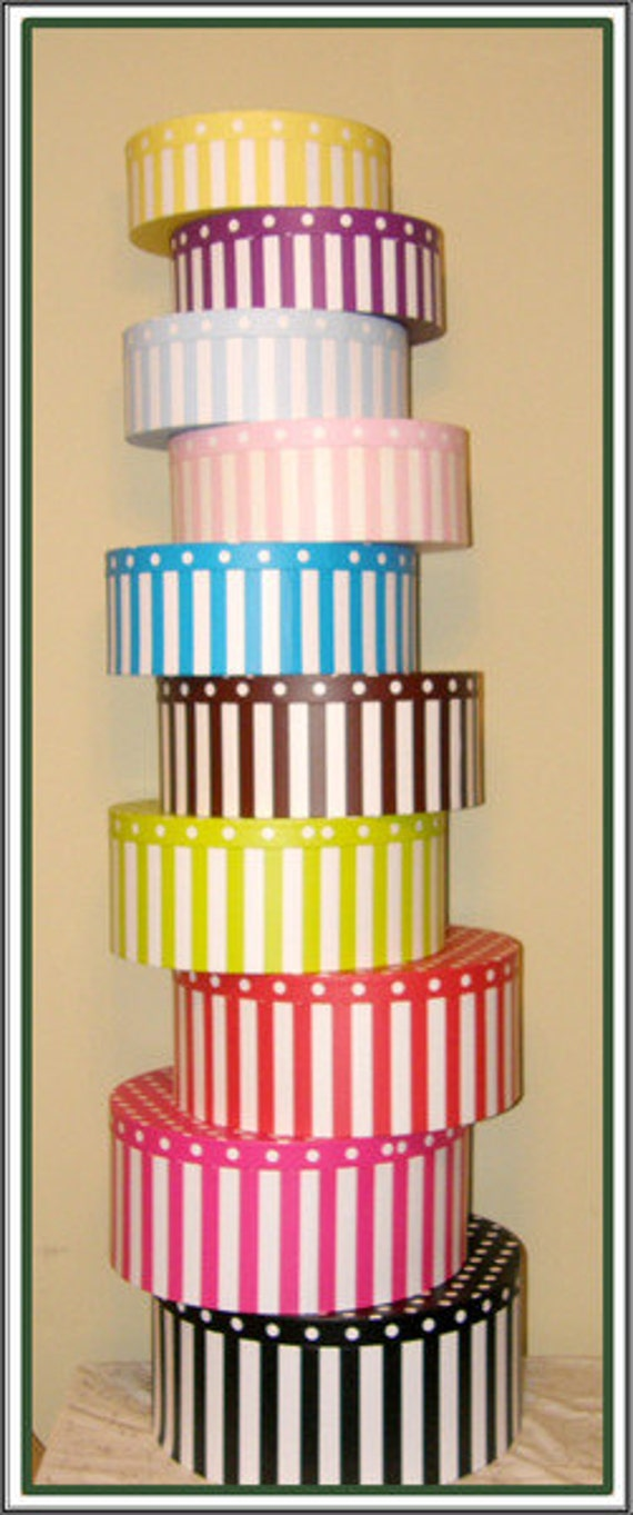 Hat Boxes Low Shipping Usa Striped And Polka Dots Only 2 Left