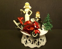 Motorcycle SUZUKI Hayabusa Street Bike or your Bike Bride and Groom Funny Bike Wedding Cake Topper