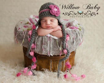 Baby Girl Hat - Gorgeous Baby Hat - BabyHat  with Flower Clip and Fun Pom Pom Ties