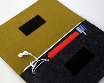 13 inch laptop case, Macbook air case, 13 inch Macbook Air Sleeve, 11 inch MacBook Sleeve - Dark Gray & Dark Golden Rod - Weird.Old.Snail