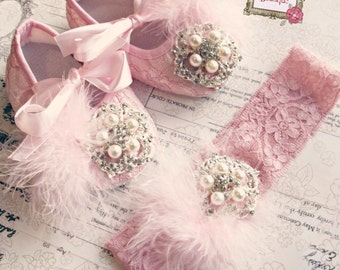 Baby Girl PINK  Lace  Crib Shoes and headband set,  ,Baby Shoes,Christening, Baptism, Wedding, Ready to ship