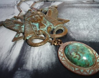 Winged Pharaoh and Chrysocolla Pendant Necklace, Vintage Brass Stampings and Chain, Statement Necklace, Egyptian Revival, Art Deco