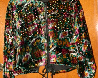 Vintage Early '90s Beaddazzled Crop Velvet Jacket with Drawstring By SPEEDLIMIT MPH Size M