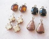 Destash. Instant Collection. Four Pairs of Vintage Preset Glass Rhinestones. Neutrals.