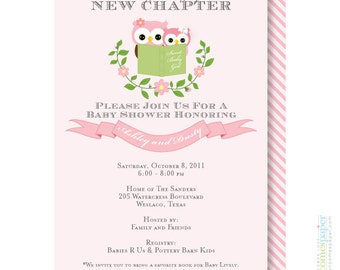 Owl Stock the Library Story Book Baby Shower Invitation