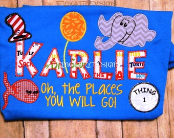 Customized name t-shirt with Dr. Seuss inspired Applique