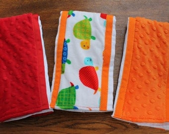 Set of 3 Matching Burp Cloths Turtle Print Minky and Coordinating Orange Dimple Dot Minky and Red Dimple Dot Minky with Ribbon Edging