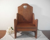 Vintage Childrens Chair Solid Wood Kid Furniture Wooden Child Photo Prop Natural Brown Eco Friendly Time Out