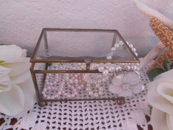 Vintage Trinket Box Brass Glass Footed Rectangle Jewelry Decor Hollywood Regency Mid Century Rustic Home Decor Christmas Gift For Her