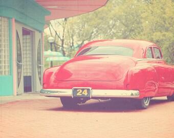 Retro Car, Vintage Car, Retro Art, Retro Art Print, Vintage Diner, Retro Diner, 1970s Art, Mint Green Decor, Red Decor, 1970 Retro Art