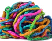 Handspun Coiled Yarn Supercoil Rainbow Multicolored ARTISTIC JELLYBEANS