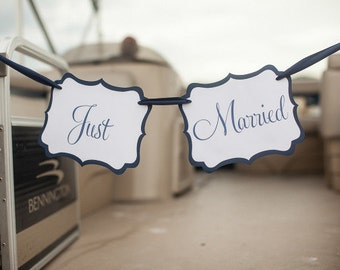 Just Married Banner or Photo Prop - In Your Custom Colors - Seen on Style Me Pretty