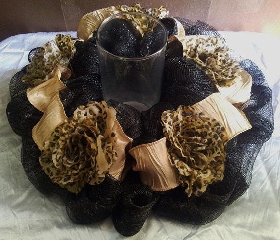 Black mesh leopard table centerpiece - Cheetah print centerpieces ...