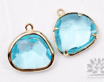 F119-02-G-IB// Gold Framed Ice Blue Glass Stone Pendant, 2Pcs