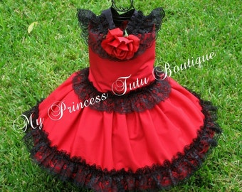 Spanish Girls Dress, Flamenco Dress, Red Boutique Dress, Spanish Style Red Dress, Spanish Flamenco Dress, Girls Tutu Dress