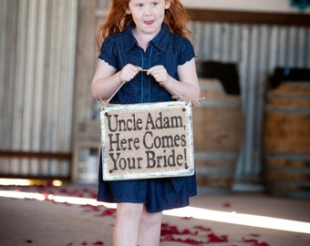 WEDDING SIGN, Vintage look, Here Comes Your Bride, shabby distressed jute and burlap, custom name, aisle decor