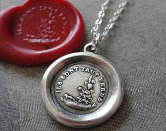 Aesop Fable Wax Seal Necklace Fox and Grapes - antique wax seal charm jewelry French motto Sour Grapes by RQP Studio