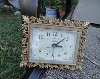 Vintage Sunbeam alarm clock gold with ornate design