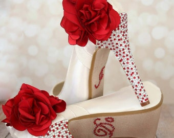 Ivory Wedding Shoes, Red Wedding Shoes, Custom Wedding Shoes, Ivory and Red Wedding, Design My Own Wedding Shoes, Red Flower Shoes, Bridal