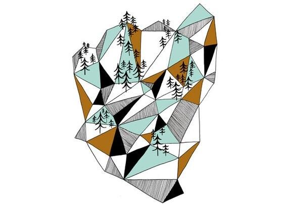 Geometric mountain print - 8 x 11.5 - A4