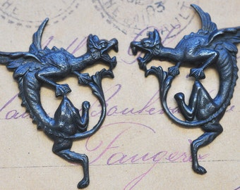 Gothic Flying Gargoyles, black satin finish, left and right, brass stampings, Craft Supplies
