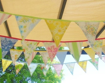 Shabby Chic Party Bunting, Wedding Decoration, Fabric Flags Banner, Photo Prop, Colorful VINTAGE FLORALS Party Bunting