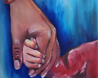 Holding Mom's Hand, mother and child, gift ideas for mom, Grandmother and grandchild, family love together, red blue, fingers clasped hands