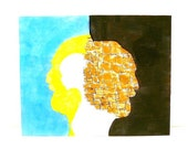 original abstract painting, surreal, portrait, 8x10 canvas, silhouette, surrealism