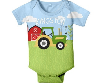 Farm Baby Bodysuit, Personalized Green Tractor Boy's One Piece Outfit, Custom Onepiece Baby Boy Clothing
