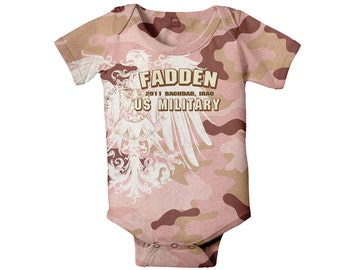 Military Baby Bodysuit - Pink Personalized Camoflauge, Army, Navy, Marines or Air Force, Custom Girl One-Piece