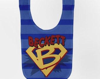 Superhero Baby Bib, Personalized Baby Boy Superhero Birthday Bibs