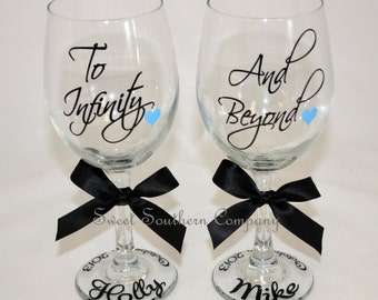 To Infinity and Beyond, Bride and Groom Wine Glasses, Personalized Wedding Glasses