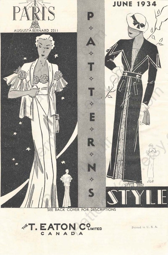 1930s T. Eaton Co. Paris and Style Patterns booklet showing Augustabernard pattern 2311