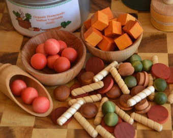 Count, Sort, Make Patterns,  Pretend Food  Italian Style Vegetable Soup  Wooden Sensory Toy