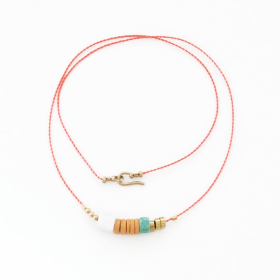 SALE - Coral Necklace with Pink and Seafoam Beads, The Capella