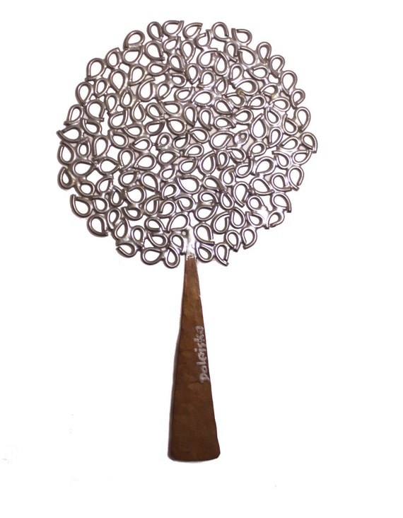 Mid Century modern metal tree, 11 inches tall, Doleiska- lollipop tree